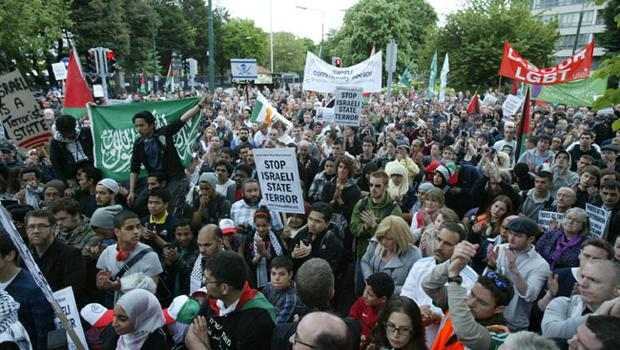 Protestors gather outside the Israeli Embassy in Dublin