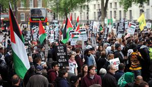 Pro-Palestianian campaigners in Whitehall, London