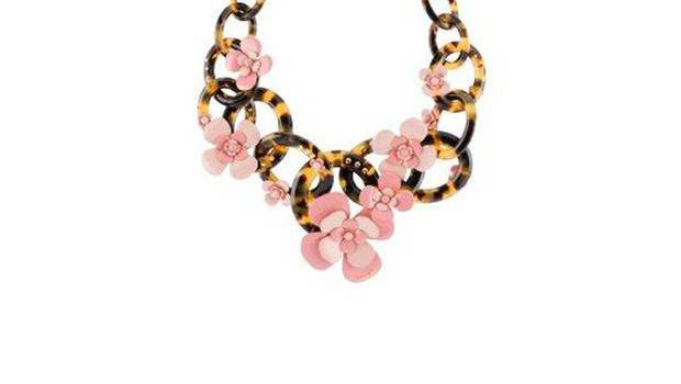 13. Plexi tortoiseshell necklace with flowers and crystals, £995, Prada