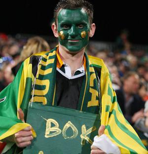 AUCKLAND, NEW ZEALAND - SEPTEMBER 30:  A Springbok fans shows his support during the IRB 2011 Rugby World Cup Pool D match between South Africa and Samoa at North Harbour Stadium on September 30, 2011 in Auckland, New Zealand.  (Photo by Sandra Mu/Getty Images)