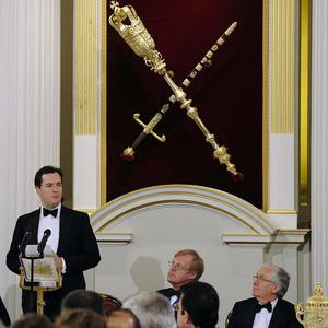 Chancellor George Osborne delivering his Mansion House speech
