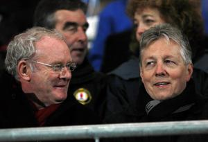 GAA guest of honour First Minister Rt. Hon. Peter Robinson MLA and Deputy First Minister Martin McGuinness MP MLA pictured at the Power NI Dr McKenna Cup Final match between Derry and Tyrone at Athletic Grounds, Armagh.