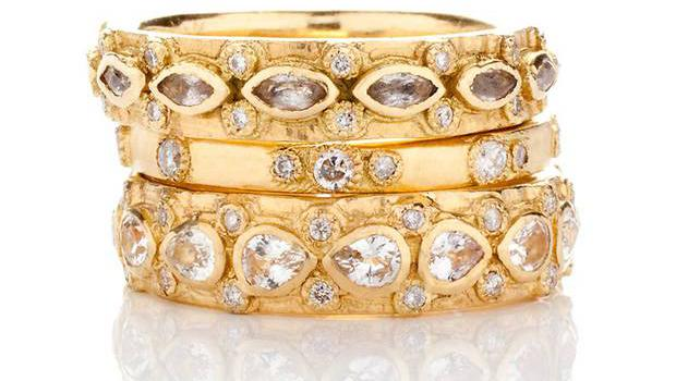 6. 18kt yellow gold and diamond stacking rings by Armenta, from £900, Talisman Gallery