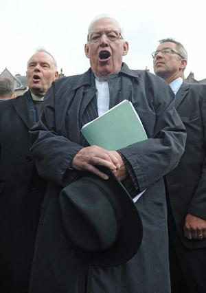The Reverend Ian Paisley joins a protest in Edinburgh against the visit of Pope Benedict XVI who arrived in the city earlier in the day for a four day visit to the United Kingdom
