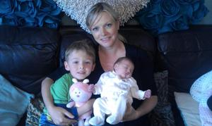 Emma Tufts with her son  Karl (4) and baby daughter Zarina Elizabeth Emilia Tufts.