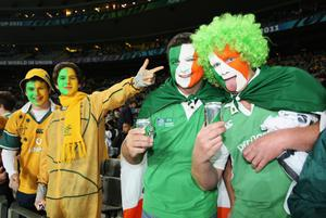 AUCKLAND, NEW ZEALAND - SEPTEMBER 17:  Wallabies and Ireland fans soak up the atmosphere during the IRB 2011 Rugby World Cup Pool C match between Australia and Ireland at Eden Park on September 17, 2011 in Auckland, New Zealand.  (Photo by Sandra Mu/Getty Images)