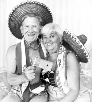 Billy Huddleston and his wife Bertha, of Groomsport, in a happy mood at the Northern Ireland match in Valencia. Billy won two free World Cup tickets taking in all Northern Ireland matches, in a draw organised by Portadown Masonic Recreation Club, in which there were 60,000 subscribers. 26/06/1982