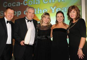 Bill Turnbull, BBC breakfast, Darragh MacIntyre, Mary McNeavey and Imelda Lynch, BBC Spotlight, Coca-Cola CIPR Scoop of the Year and Joanne Sweeney, Chair of CIPR.Photo by Simon Graham/Harrison Photography
