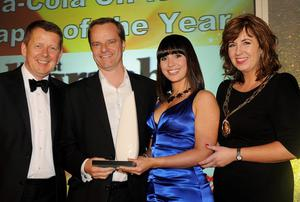 .Bill Turnbull, BBC Breakfast, Mike Gilson, Belfast Telegraph Editor with Coca-Cola CIPR Newspaper of the Year award, Zoe Cunningham, Communications Manager Coca-Cola HBC Northern Ireland and Joanne Sweeney, Chair of CIPR.Photo by Simon Graham/Harrison Photography