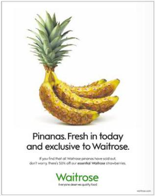 """<b>You say Pinana...</b><br/> Waitrose supermarket announced it was stocking an exotic new fruit: the Pinana, a hybrid combination of a pineapple and a banana. The advert read: """"Fresh in today and exclusive to Waitrose. If you find that all Waitrose pinanas have sold out, don't worry, there's 50% off our essential Waitrose strawberries."""""""