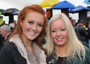Enjoying a day out at Down Royal Racecourse  - Reah Magee and Christine Newton, from Ballyclaire