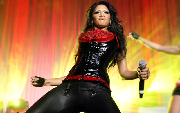 "Nicole Scherzinger  of the Pussycat Dolls performs at the Conde Nast ""Fashion Rocks"" pre-party at Mansion on September 4, 2008 in New York City."