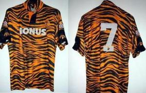 <br /><b>Hull 'tiger' strip</b><br /> Football kits were supposed to be banned from this list of fashion disasters, but Hull's strip from 1992 couldn't go without a mention