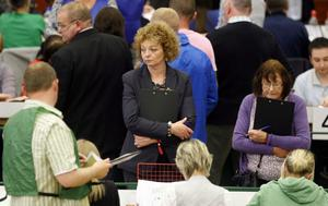 Sinn Fein's Caral Ni Chuilin as the ballot boxes are opened for counting in the Valley Leisure Centre