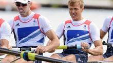 From right, Peter Chambers, Rob Williams, Richard Chambers and Chris Bartley won silver in the men's lightweight four rowing final (AP)