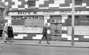 Riots : Belfast. August 1969.  One of the many shops on the Falls Road which have had to be boarded up after windows were smashed following trouble in the city last night.  14/8/69