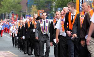 12/7/11 Mandatory Credit Darren Kidd/Presseye.com Orangemen take part in Twelfth of July parades as they make their way to the field at Shaws Bridge, Belfast.The parade makes its way towards the Lisburn Rd,  LOL 128