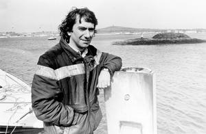 Joey Dunlop : Motorcycling.  Joey Dunlop at Strangford Harbour awaits news of the operation to fish out the bikes lost on Saturday night after the ferry he was on sank.   27/5/1985