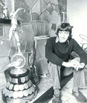Joey Dunlop motorbike ace at his home.