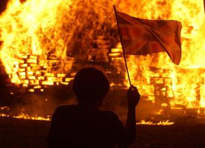 11.07.11. PICTURE BY DAVID FITZGERALD12th of July celebrations kick off in Whitehead where people enjoy the bonfire