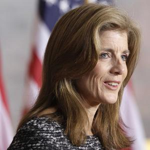 Caroline Kennedy speaks at a ceremony marking the 50th anniversary of her father's inaugural speech (AP)