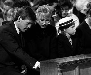 Liverpool manager Kenny Dalglish, his wife Marina and daughter Kelly during the memorial service for the victims of the Hillsborough Tragedy.
