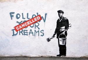 Banksy art in the Chinatown district of Boston