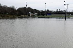A rugby pitch at the YMCA, Drumahoe, outside Derry, which was under several feet of water