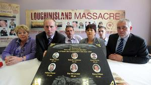 Relatives of the victims of the Heights Bar massacre (from left), Moira Casement, Patrick McCreanor, Aidan O'Toole, Emma Rogan, Stephen Byrne and Paul Jenkinson, unite to condemn the ombudsman's report