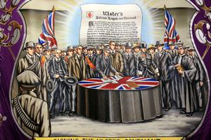 Press Eye - Belfast Northern Ireland - Thursday 21st  June 2012 - Ulster Covenant ExhibitionFawney Heroes BannerPicture by Kelvin Boyes / Press Eye.