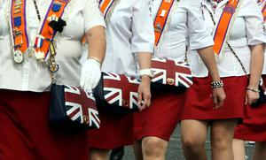 Female members of the Orange Order on the march in Belfast