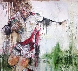 Emma Spence's portrait of brother Nevin on the rugby pitch