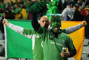 AUCKLAND, NEW ZEALAND - SEPTEMBER 17: Ireland fans celebrate victory after the IRB 2011 Rugby World Cup Pool C match between Australia and Ireland at Eden Park on September 17, 2011 in Auckland, New Zealand.  (Photo by Cameron Spencer/Getty Images)