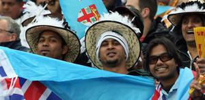 HAMILTON, NEW ZEALAND - OCTOBER 02: Fiji fans soak up the atmopshere ahead of the IRB Rugby World Cup Pool D match between Wales and Fiji at Waikato Stadium on October 2, 2011 in Hamilton, New Zealand.  (Photo by Sandra Mu/Getty Images)