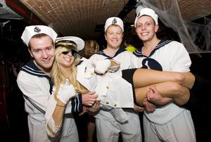 Ollies Halloween party pictured - Michael McCourt, Chris Smylie, Conor Smith and Sarah Moore