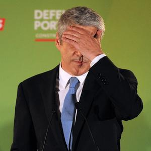 Interim prime minister and Socialist Party leader Jose Socrates acknowledges his party's defeat in Portugal's parliamentary elections (AP)