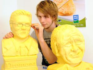 Art College student Jonny Shields puts the finishing touches to his First Minister, Peter Robinson, and Deputy First Minister, Martin McGuinness, made from cheese