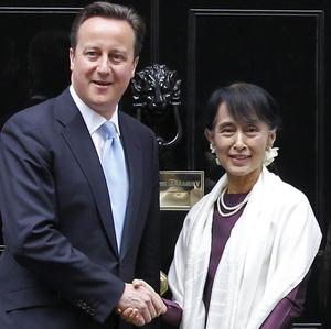 David Cameron meets Aung San Suu Kyi on her first visit to the UK in 24 years (AP)