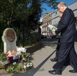 Libyan prime minister Abdurrahim El-Keib lays a wreath at the spot where policewoman Yvonne Fletcher was shot dead