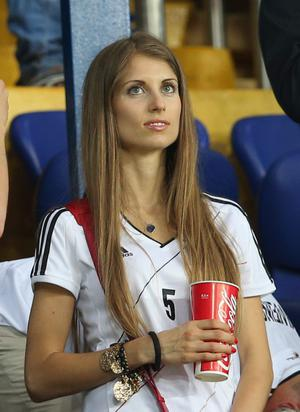 KHARKOV, UKRAINE - JUNE 13:  Cathy Fischer, girlfriend of Mats Hummels looks on during the UEFA EURO 2012 group B match between Netherlands and Germany at Metalist Stadium on June 13, 2012 in Kharkov, Ukraine.  (Photo by Joern Pollex/Getty Images)