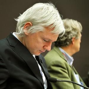 WikiLeaks founder Julian Assange at a press conference on governments' use of multimedia spying techniques