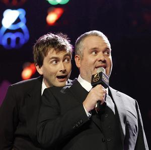 David Tennant and Chris Moyles perform at the Children In Need Rocks Manchester concert