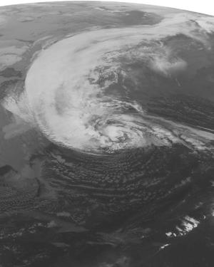 This NOAA satellite image taken Monday, Oct. 29, 2012 at 1:45 a.m. EDT shows Hurricane Sandy turning to the to the north well east of Cape Hatteras, N.C.