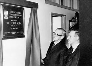 Sir George Allen, secretary of the British Association for the Advancement of Science, and an old pupil of Methodist College, Belfast, unveiling the plaque to open the college's new labratories, art rooms and classrooms. With him is Mr. A.S. Worrall, the principal, 1962.