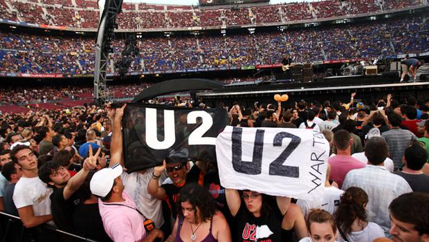 Fans of U2 prepare for the first night of their 360 tour held at Camp Nou on June 30, 2009 in Barcelona, Spain.