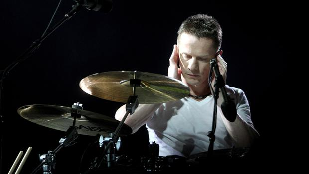 Larry Mullen of U2 performs onstage on the first night of their 360 tour held at Camp Nou on June 30, 2009 in Barcelona, Spain