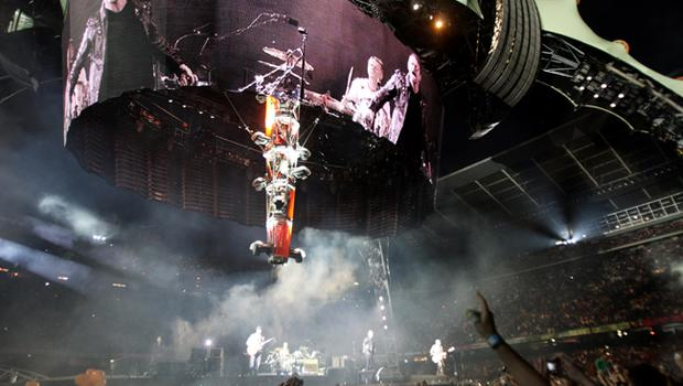 Adam Clayton, Bono, The Edge and Larry Mullen of U2 perform onstage on the first night of their 360 tour held at Camp Nou on June 30, 2009 in Barcelona, Spain.