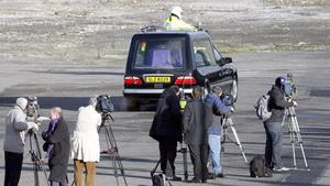 A hearse with the body of Michaela McAreavey, leaves George Best Belfast city airport.  Friday January 14, 2011.