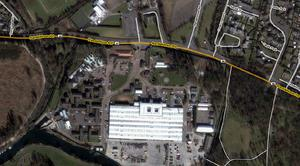 Aerial showing Masserene army base and it's front entrance