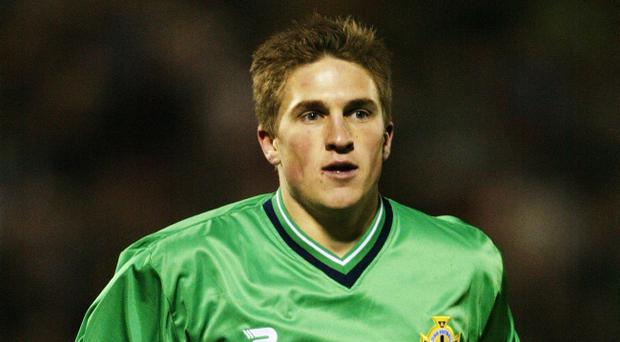 Paul McVeigh in action for Northern Ireland.